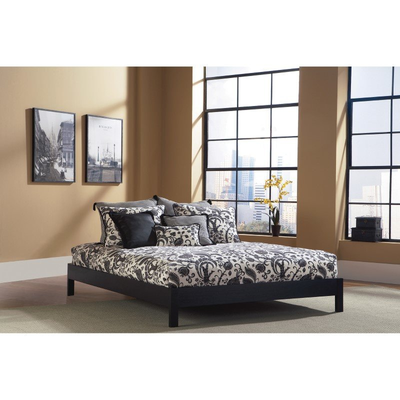 Fashion Bed Group Murray Platform Bed with Wooden Box Frame - Black Finish - Twin