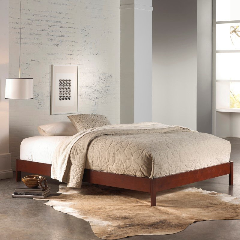 Fashion Bed Group Murray Platform Bed with Wooden Box Frame - Mahogany Finish - Full