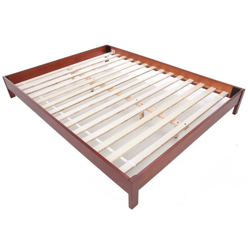 Fashion Bed Group Murray Platform Bed with Wooden Box Frame - Mahogany Finish - Queen