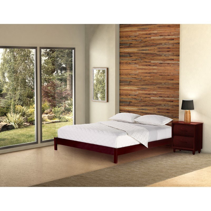 Fashion Bed Group Murray Platform Bed with Wooden Box Frame - Mahogany Finish - Twin