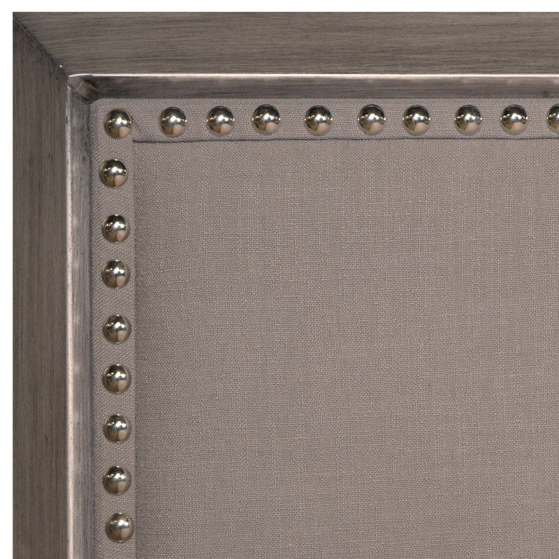 Fashion Bed Group Normandy Metal Headboard with Steel Gray Upholstery and Nail head Trim - Distressed Charcoal Finish - California King