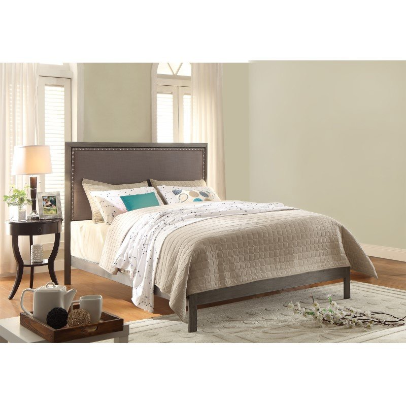 Fashion Bed Group Normandy Platform Bed with Metal Frame and Steel Gray Upholstered Headboard - Distressed Charcoal Finish - California King