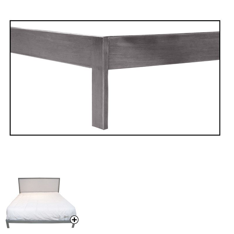 Fashion Bed Group Normandy Platform Bed with Metal Frame and Steel Gray Upholstered Headboard - Distressed Charcoal Finish - King
