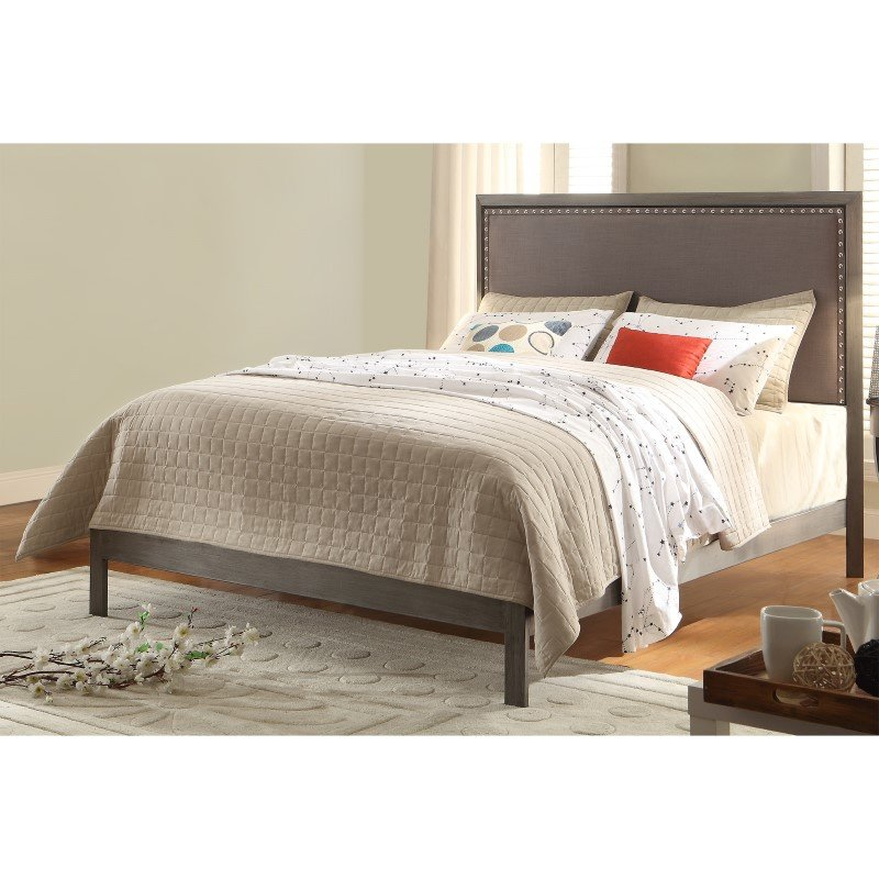 Fashion Bed Group Normandy Platform Bed with Metal Frame and Steel Gray Upholstered Headboard - Distressed Charcoal Finish - Queen