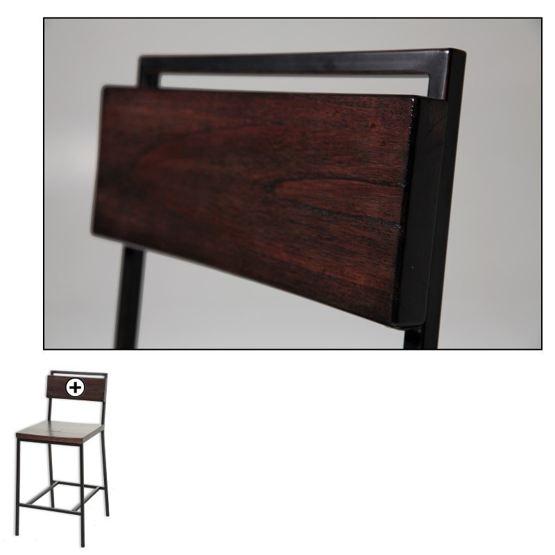 Fashion Bed Group Olympia Metal Barstool with Black Cherry Wooden Seat and Matte Black Frame Finish - 30-Inch