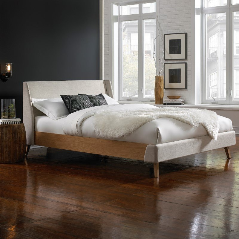 Fashion Bed Group Palmer Complete Platform Bed with Upholstered Exterior and Light Oak Wooden Side Rails - Flax Finish - Queen