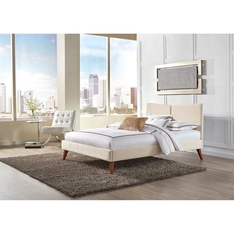 Fashion Bed Group Parkland Complete Platform Bed with Angled Headboard and Upholstered Frame - Ivory Finish - California King