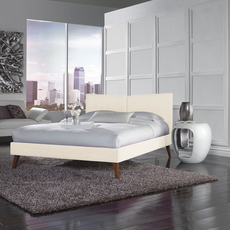 Fashion Bed Group Parkland Complete Platform Bed with Angled Headboard and Upholstered Frame - Ivory Finish - King