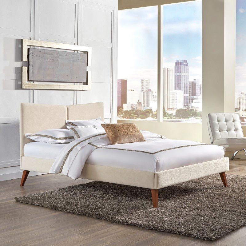 Fashion Bed Group Parkland Complete Platform Bed with Angled Headboard and Upholstered Frame - Ivory Finish - Queen