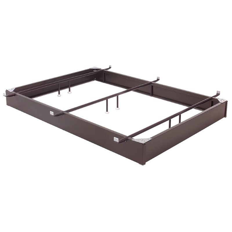 """Fashion Bed Group Pedestal 1050 Bed Base with 10"""" Brown Steel Frame and Center Cross Tube Support - Queen"""