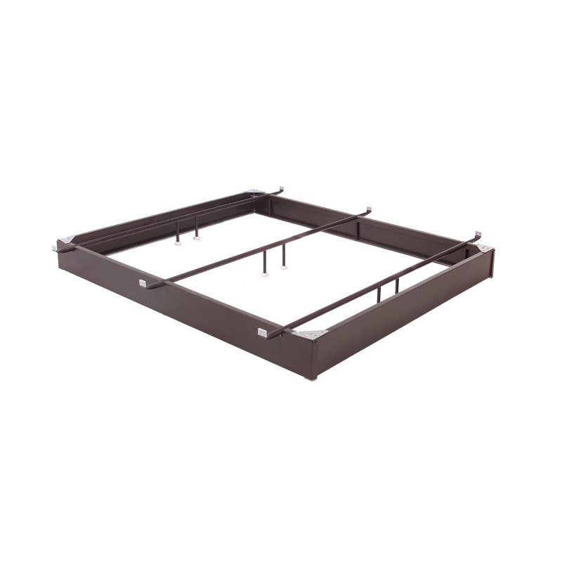 """Fashion Bed Group Pedestal 666 Bed Base with 6-1/4"""" Brown Steel Frame and Center Cross Tube Support - King"""