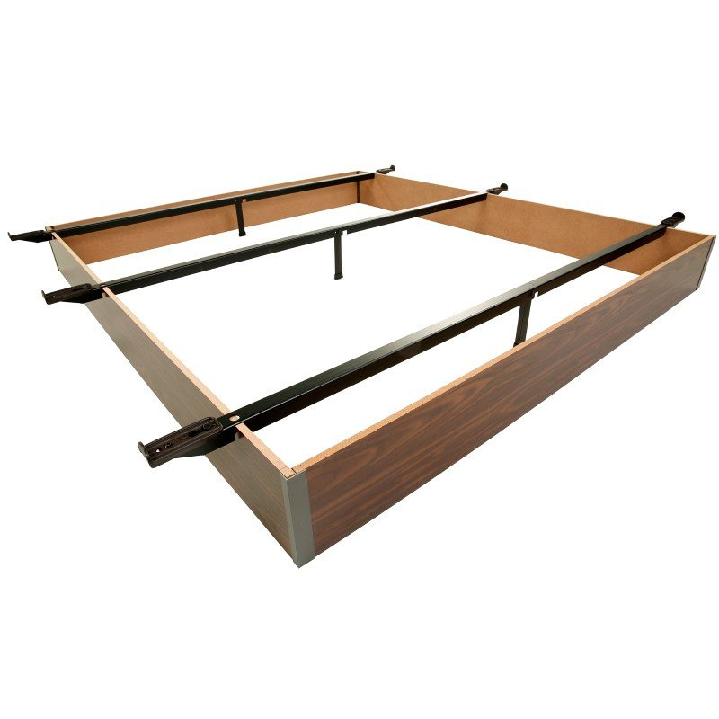 """Fashion Bed Group Pedestal HK-19 Bed Base with 7-1/2"""" Walnut Laminate Wood Frame and Center Cross Slat Support - Hotel King"""