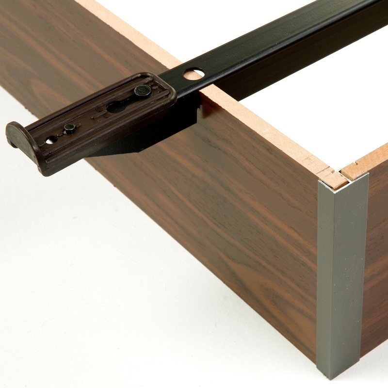 "Fashion Bed Group Pedestal K-17 Bed Base with 6"" Walnut Laminate Wood Frame and Center Cross Slat Support - King"