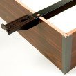"""Fashion Bed Group Pedestal Q-17 Bed Base with 6"""" Walnut Laminate Wood Frame and Center Cross Slat Support - Queen"""