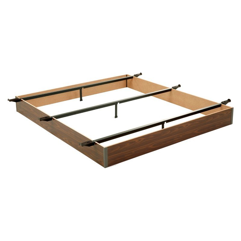 """Fashion Bed Group Pedestal Q-19 Bed Base with 7-1/2"""" Walnut Laminate Wood Frame and Center Cross Slat Support - Queen"""