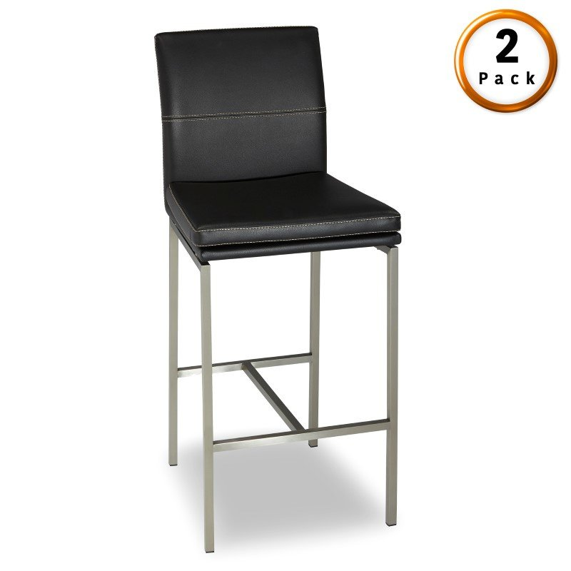 Fashion Bed Group Phoenix Metal Counter Stool with Black Upholstered Seat and Stainless Steel Frame - 2-Pack - 26-Inch