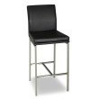Fashion Bed Group Phoenix Metal Counter Stool with Black Upholstered Seat and Stainless Steel Frame - 26-Inch