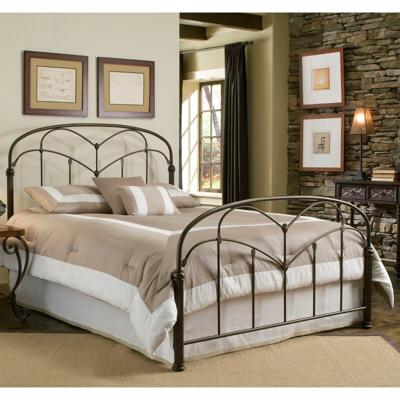 Fashion Bed Group Pomona Complete Bed with Arched Metal Grills and Detailed Posts - Hazelnut Finish - Full