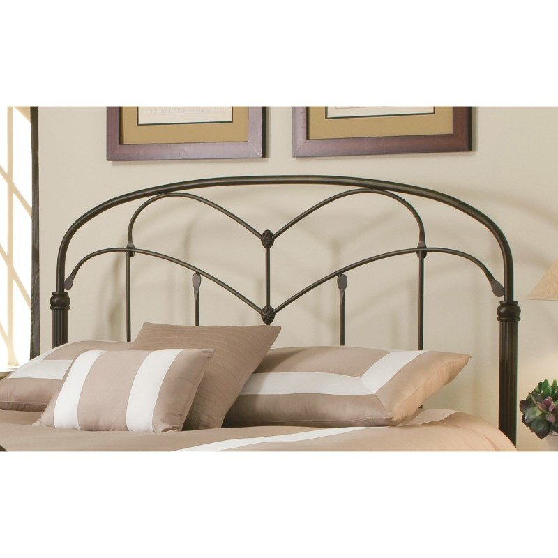 Fashion Bed Group Pomona Complete Bed with Arched Metal Grills and Detailed Posts - Hazelnut Finish - Queen