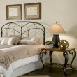 Fashion Bed Group Pomona Headboard with Arched Metal Grill and Detailed Posts - Hazelnut Finish - King