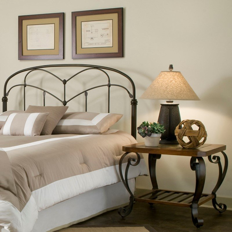 Fashion Bed Group Pomona Headboard with Arched Metal Grill and Detailed Posts - Hazelnut Finish - Queen
