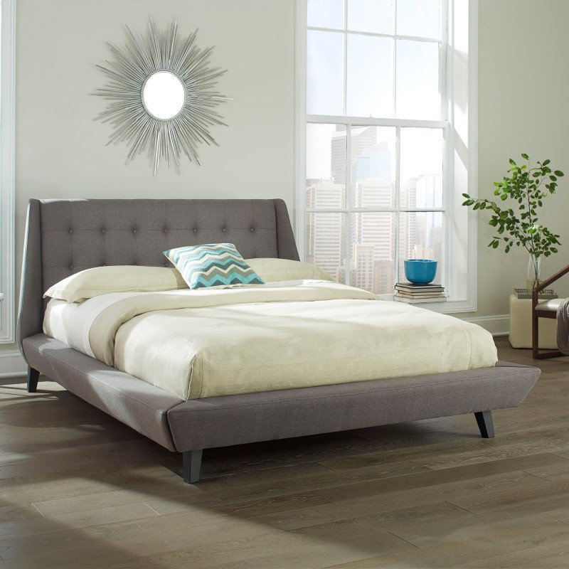 Fashion Bed Group Prelude Complete Platform Bed with Button-Tuft Headboard and Upholstered Exterior - Ash Finish - Queen