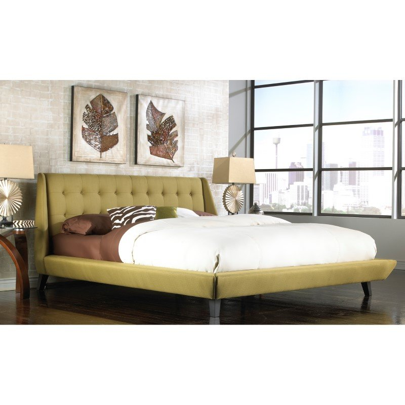 Fashion Bed Group Prelude Complete Platform Bed with Button-Tuft Headboard and Upholstered Exterior - Willow Finish - Queen