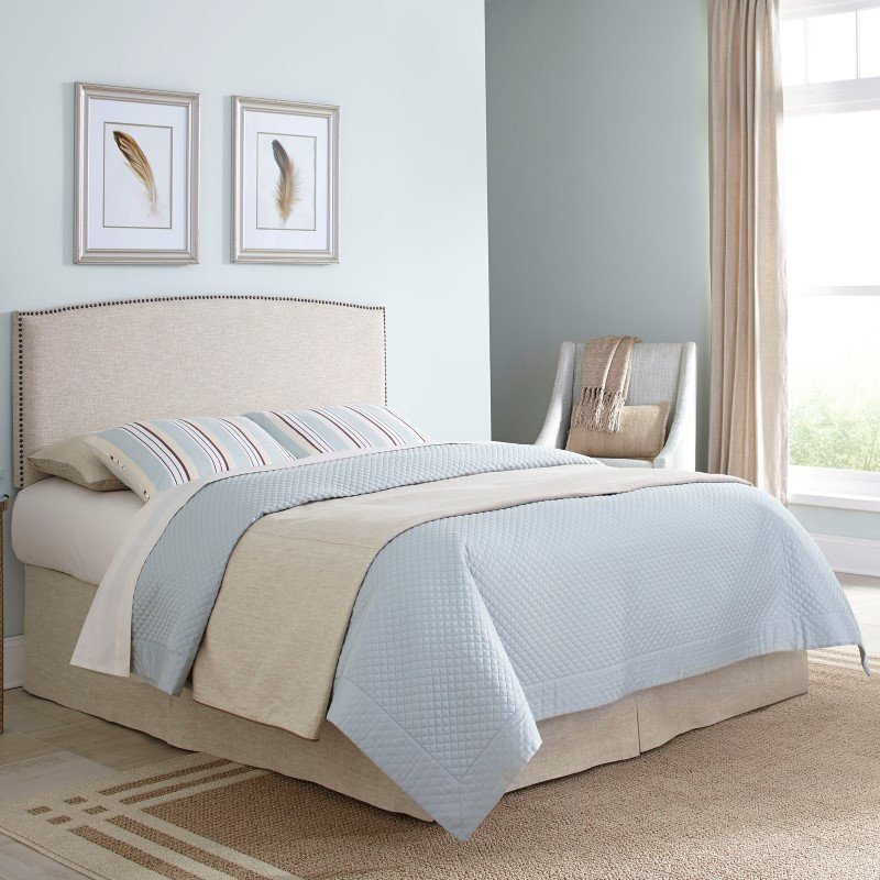 Fashion Bed Group Princeton Adjustable Headboard with Upholstered Panel and Nail Head Trim Design - Light Wheat Finish - King/California King