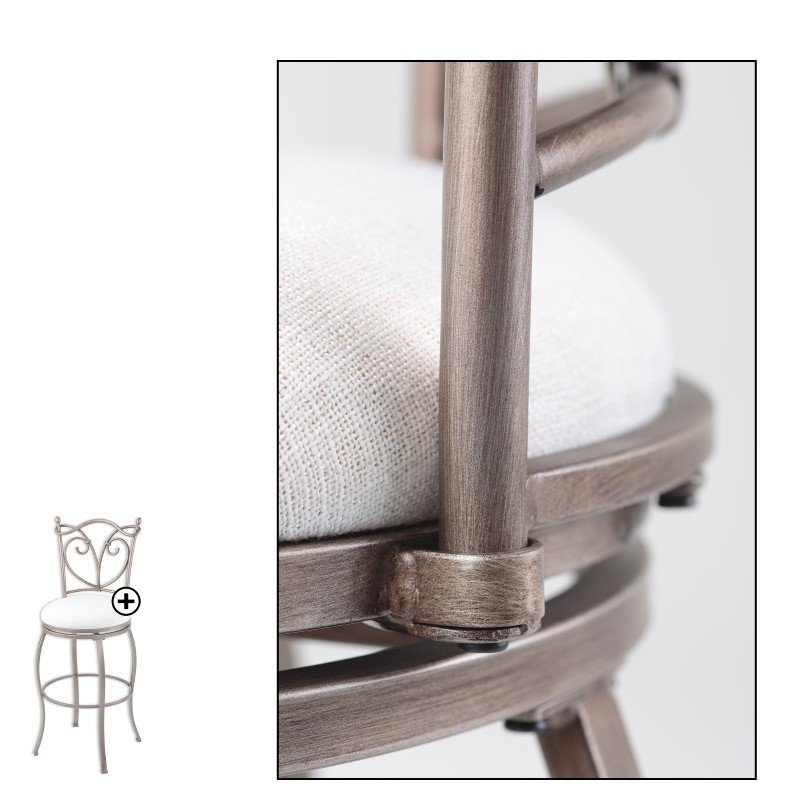 Fashion Bed Group Raleigh Metal Barstool with Wheat Upholstered Swivel-Seat and Brushed Bronze Frame Finish - 30-Inch