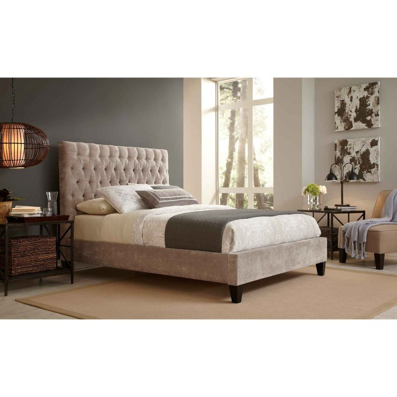 Fashion Bed Group Reims Complete Bed with Upholstered Exterior and Button-Tufted Headboard - Vanity Mouse Finish - California King