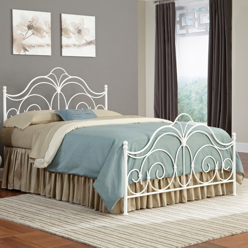 Fashion Bed Group Rhapsody Complete Bed with Curved Grill Design and Finial Posts - Glossy White Finish - California King