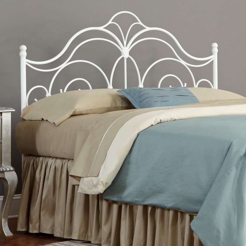 Fashion Bed Group Rhapsody Metal Headboard with Curved Grill Design and Finial Posts - Glossy White Finish - Queen