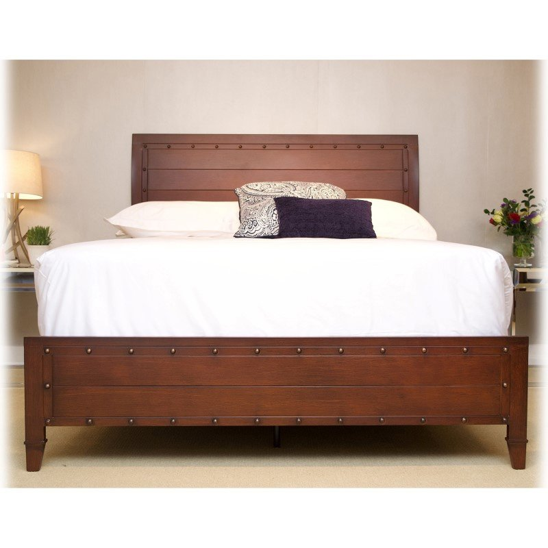 Fashion Bed Group Rockland Platform Bed with Metal Sleigh Headboard and Wood Appearance Design - Brandy Finish - California King