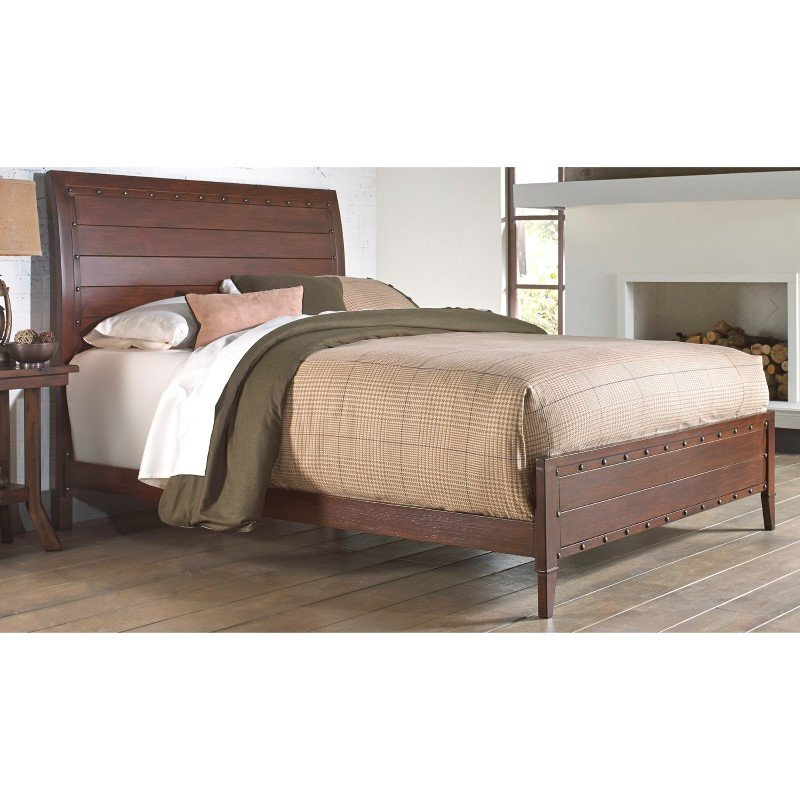 Fashion Bed Group Rockland Platform Bed with Metal Sleigh Headboard and Wood Appearance Design - Brandy Finish - King