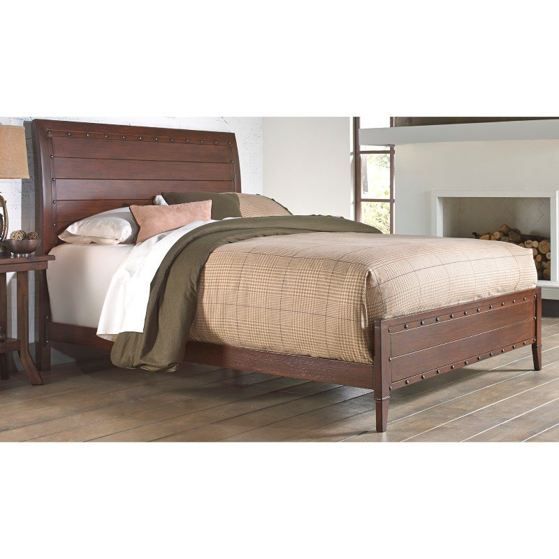 Fashion Bed Group Rockland Platform Bed with Metal Sleigh Headboard and Wood Appearance Design - Brandy Finish - Queen
