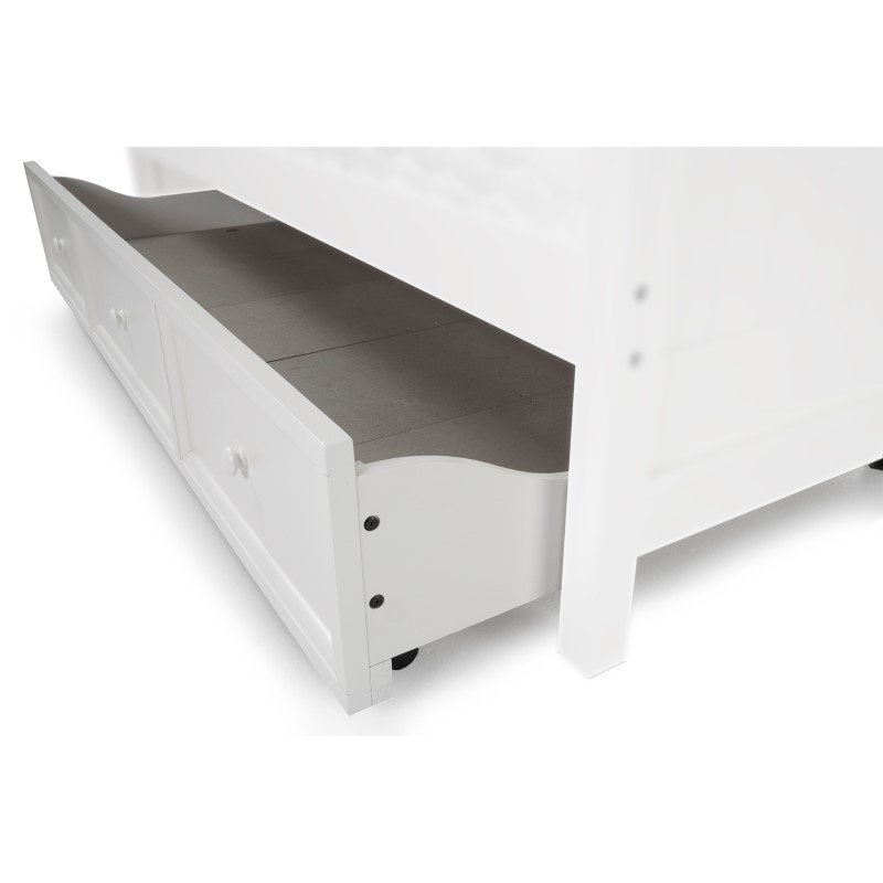 Fashion Bed Group Roll Out Wood Trundle Drawer for Casey II Daybed - White Finish - Twin