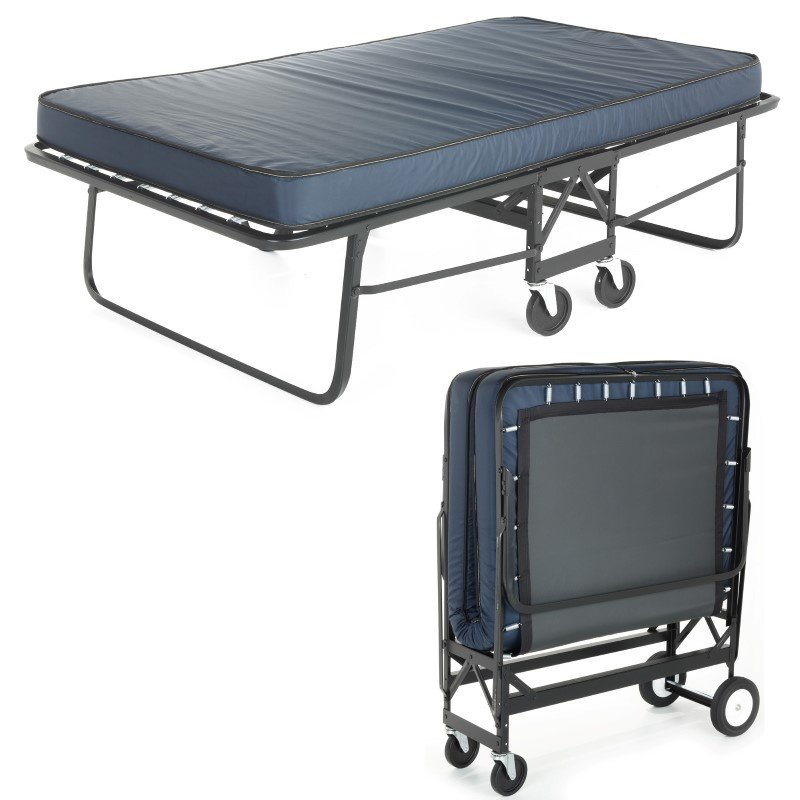 """Fashion Bed Group Rollaway 1290P Folding Cot and 30"""" Anti-Bacterial Fiber Mattress with Angle Steel Frame and Poly Deck Sleeping Surface - 29"""" x 75"""""""