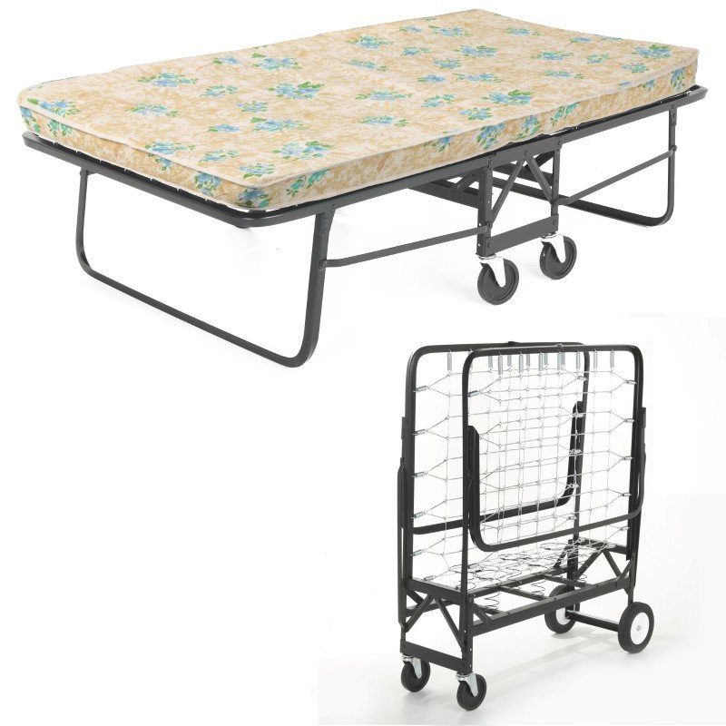 "Fashion Bed Group Rollaway 1291 Folding Bed and 39"" Fiber Mattress with Angle Steel Frame and Link Deck Sleeping Surface - 38"" x 75"""