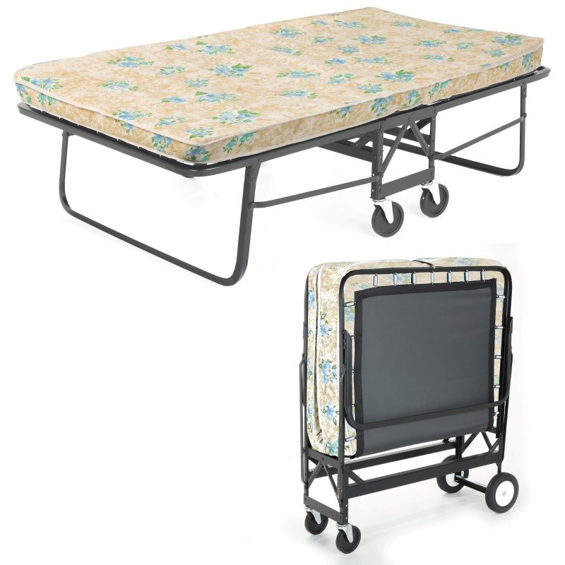 """Fashion Bed Group Rollaway 1291P Folding Bed and 39"""" Fiber Mattress with Angle Steel Frame and Poly Deck Sleeping Surface - 38"""" x 75"""""""