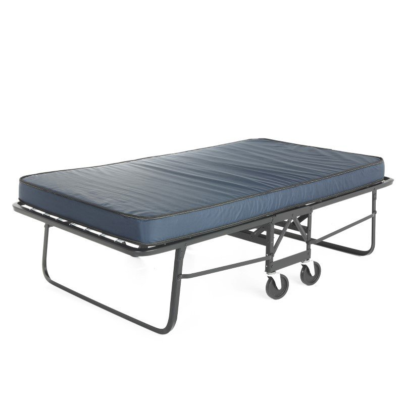 """Fashion Bed Group Rollaway 1292P Folding Bed and 48"""" Anti-Bacterial Fiber Mattress with Angle Steel Frame and Poly Deck Sleeping Surface - 47"""" x 75"""""""