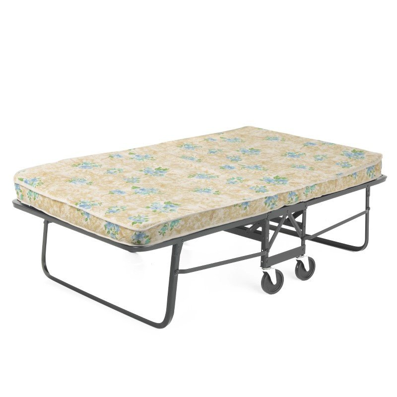 "Fashion Bed Group Rollaway 1292P Folding Bed and 48"" Fiber Mattress with Angle Steel Frame and Poly Deck Sleeping Surface - 47"" x 75"""