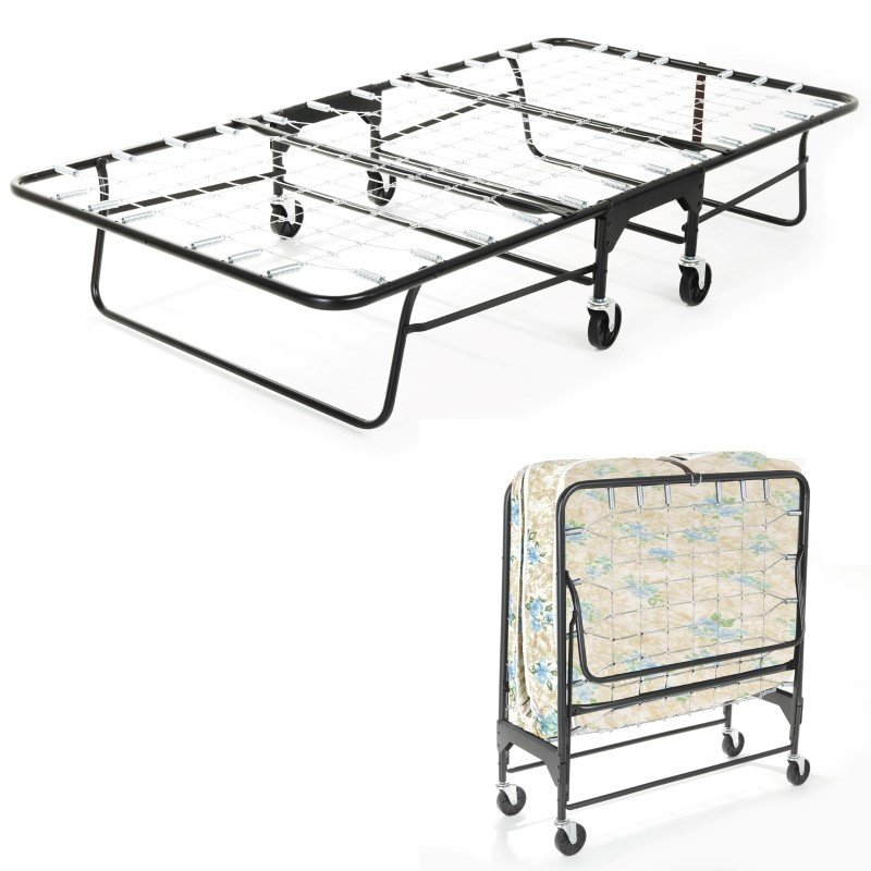 """Fashion Bed Group Rollaway 455/75 Folding Bed and 39"""" Fiber Mattress with Tubular Steel Frame and Link Deck Sleeping Surface - 38"""" x 75"""""""
