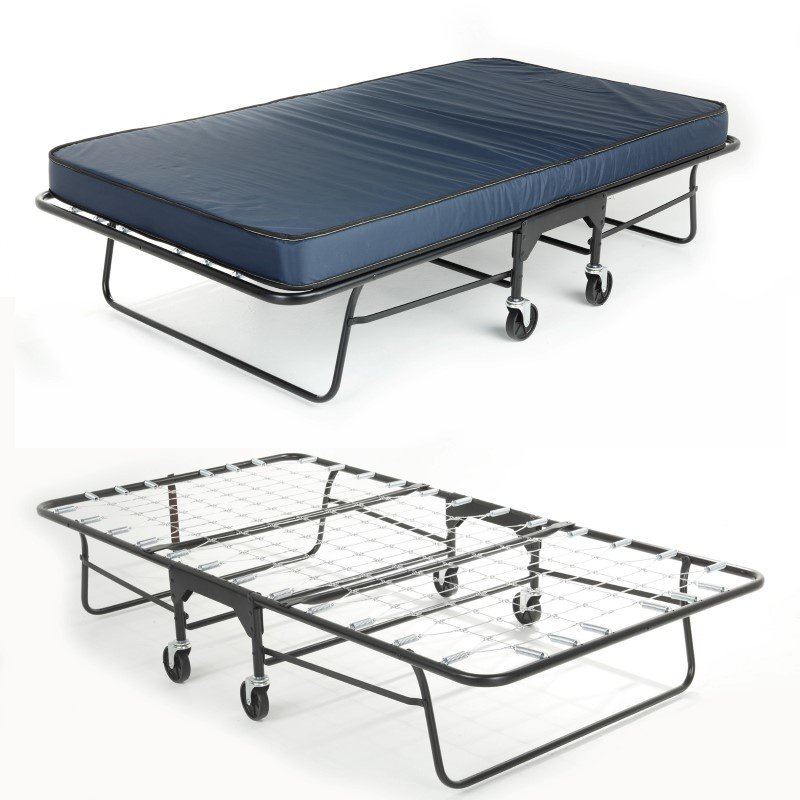 """Fashion Bed Group Rollaway 455M/90 Folding Bed and 39"""" Flame Retardant Innerspring Mattress with Tubular Steel Frame and Link Deck Sleeping Surface - 39"""" x 75"""""""