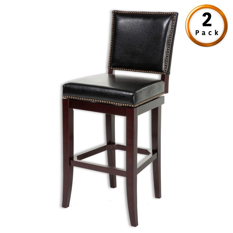 Fashion Bed Group Sacramento Wood Counter Stool with Black Upholstered Nail head Trim Swivel-Seat and Espresso Frame Finish - 2-Pack - 26-Inch