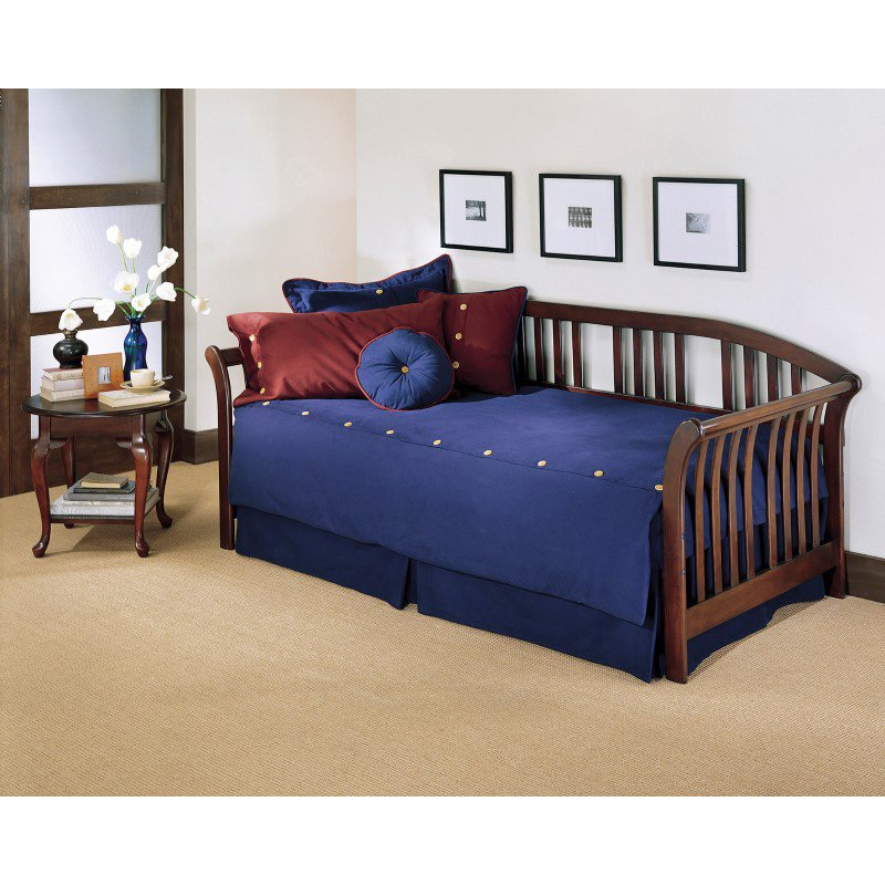 Fashion Bed Group Salem Wood Daybed Frame with Curved Back Panel and Sleigh Arms - Mahogany Finish - Twin