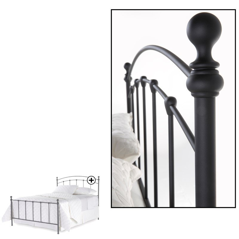 Fashion Bed Group Sanford Complete Bed with Metal Duo Panels and Round Finial Posts - Matte Black Finish - Full
