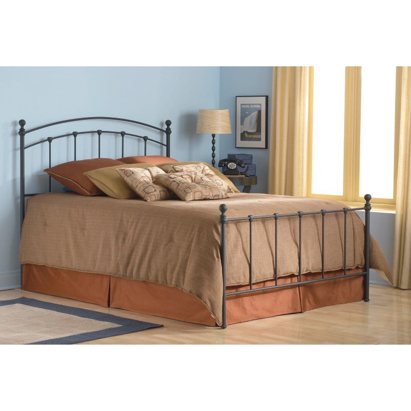 Fashion Bed Group Sanford Complete Bed with Metal Duo Panels and Round Finial Posts - Matte Black Finish - King