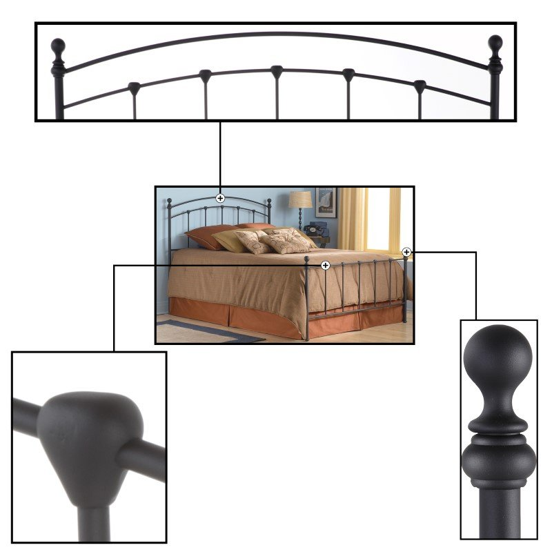 Fashion Bed Group Sanford Complete Bed with Metal Duo Panels and Round Finial Posts - Matte Black Finish - Twin