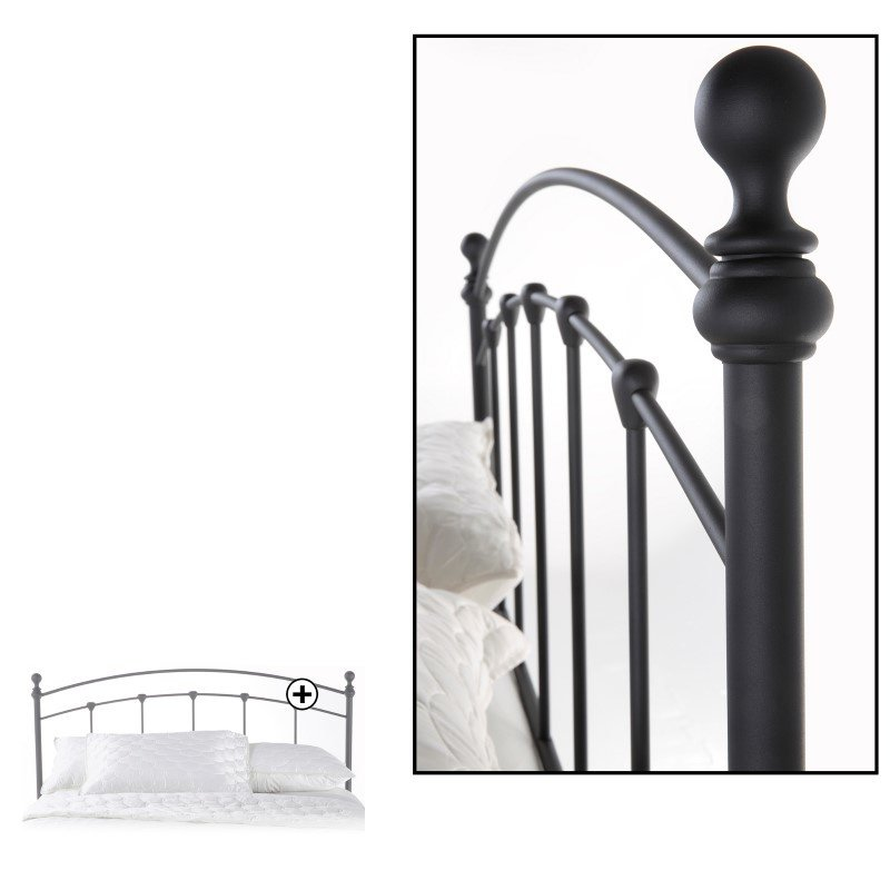 Fashion Bed Group Sanford Metal Headboard with Castings and Round Finial Posts - Matte Black Finish - Full