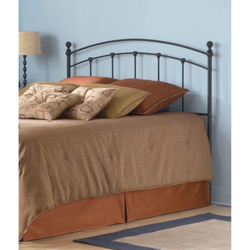 Fashion Bed Group Sanford Metal Headboard with Castings and Round Finial Posts - Matte Black Finish - Queen